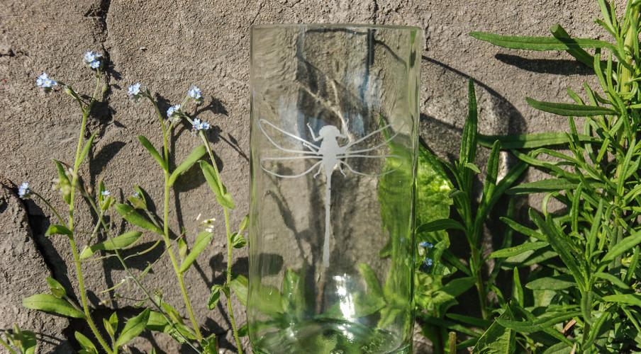 Sandgestrahltes Motiv mit Libelle